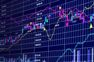 3d blue stock chart
